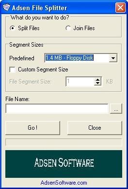 Adsen File Splitter 1.26 screenshot