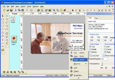 Advanced Business Card Maker 3.1 screenshot