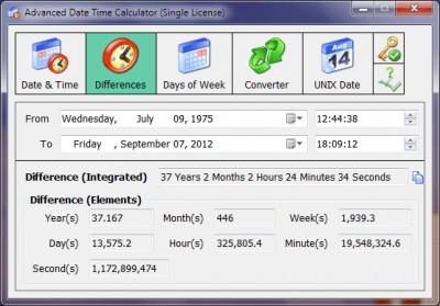 Advanced Date Time Calculator 11.0 screenshot