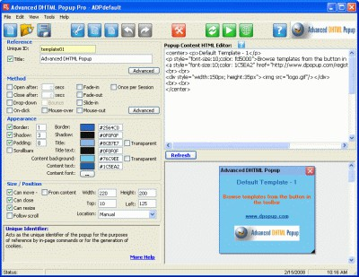 Advanced DHTML Popup Pro 3.11.00 screenshot