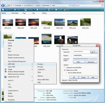 Advanced Encryption Plugin for Explorer 5.53 screenshot