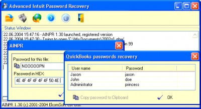 Advanced Intuit Password Recovery 2.03 screenshot