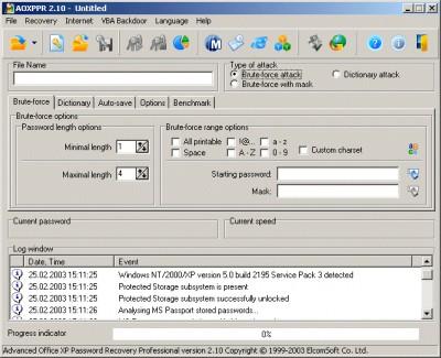 Advanced Office XP Password Recovery Pro 2.42 screenshot