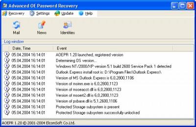 Advanced Outlook Express Password Recovery 1.20 screenshot