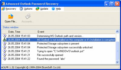 Advanced Outlook Password Recovery 1.34 screenshot