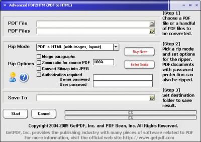 Advanced PDF2HTM (PDF to HTML) 3.0 screenshot