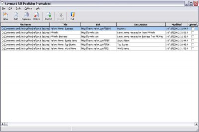 Advanced RSS Publisher Personal 3.57.67 screenshot