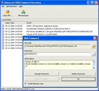 Advanced VBA Password Recovery 1.60 screenshot