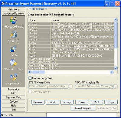 Advanced Windows Password Recovery 3.5 screenshot
