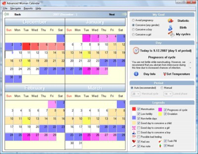 Advanced Woman Calendar 3.0 screenshot