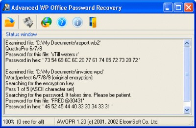 Advanced WordPerfect Office Password Recovery 1.21 screenshot