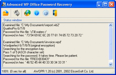 Advanced WordPerfect Office Password Recovery 1.36 screenshot