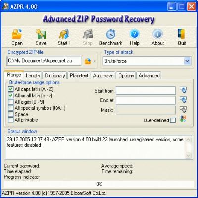 Advanced ZIP Password Recovery 4.54.55 screenshot