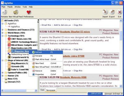 AgileRss 2.0 screenshot