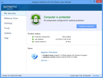 Agnitum Outpost Antivirus Pro (64-bit) 9.2 screenshot