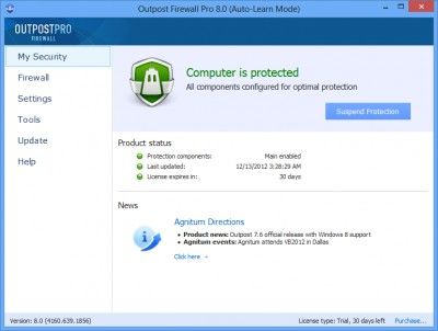 Agnitum Outpost Firewall Pro 9.2 screenshot