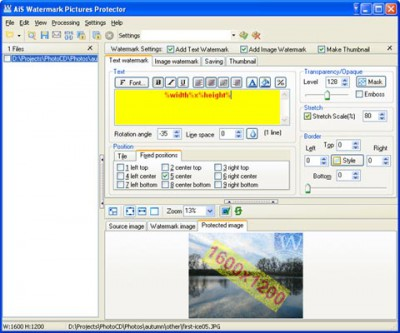 AiS Watermark Pictures Protector 3.7.0 screenshot