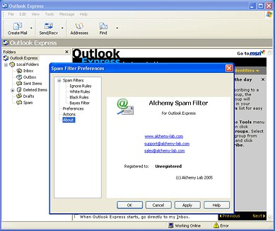 Alchemy Spam Filter for Outlook Express 1.1 screenshot