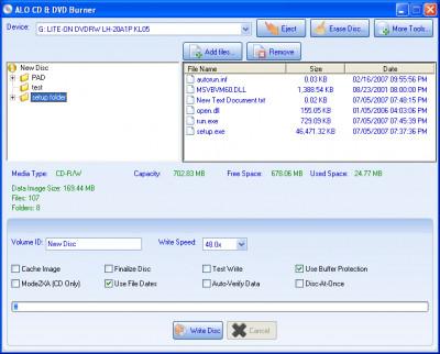 ALO CD & DVD BURNER 4.6.572 screenshot