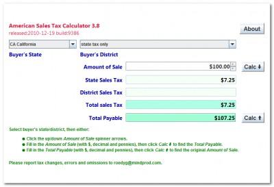 American State Sales Tax Calculator 4.1 screenshot