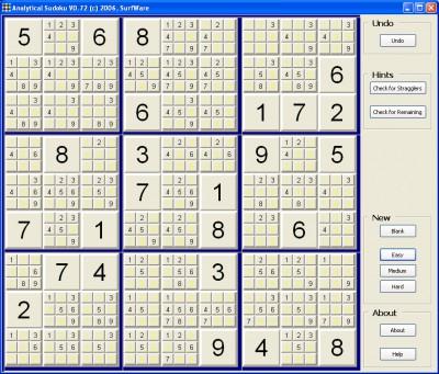 Analytical Sudoku 0.9 screenshot