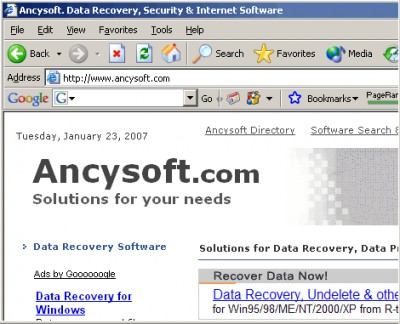 Ancysoft Data Recovery Software 1.0 screenshot