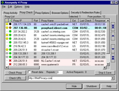 Anonymity 4 Proxy - A4Proxy 2.81 screenshot