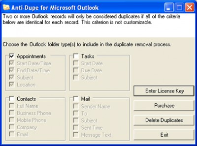 Anti-Dupe for Microsoft Outlook 2.0 screenshot