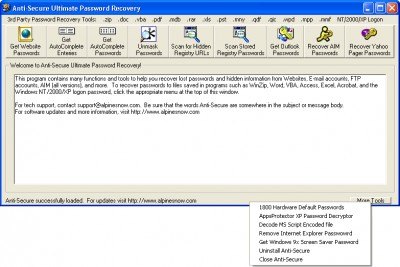 Anti-Secure Ultimate Password Recovery 1.0 screenshot