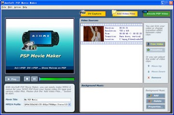 AnvSoft PSP Movie Maker 1.101 screenshot