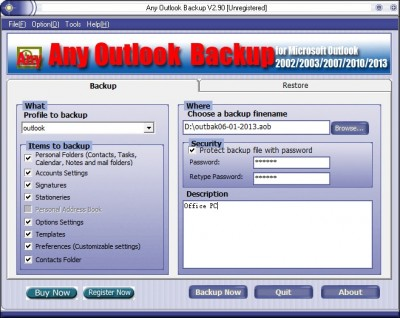 Any Outlook Backup 2.90 screenshot
