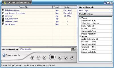 AOK Flash 3GP Video Converter 1.4 screenshot