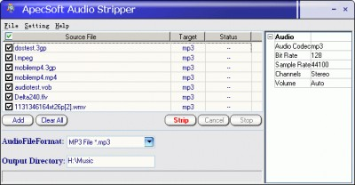 ������ ���� �������� Audio Stripper