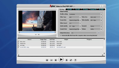 Aplus All Media to iPod/PSP/3GP/Xbox/Pocket PC/ PD 8.88 screenshot