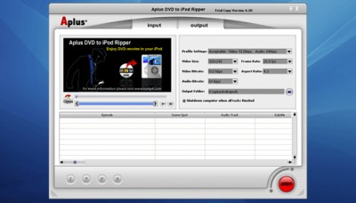 Aplus DVD to iPod Ripper 5.003 screenshot