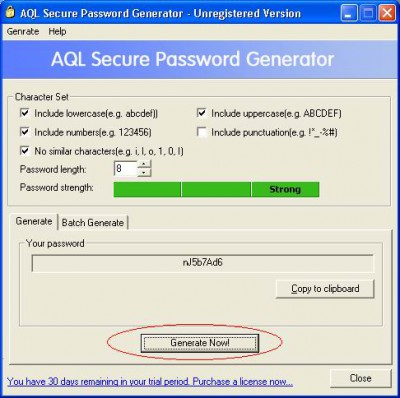 AQL Secure Password Generator 2.00 screenshot