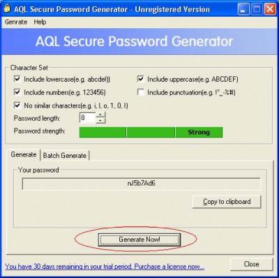 AQL Secure Password Generator 2.00 screenshot