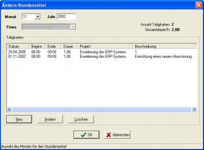 Arbeitsstundenverwaltung 2.0 screenshot