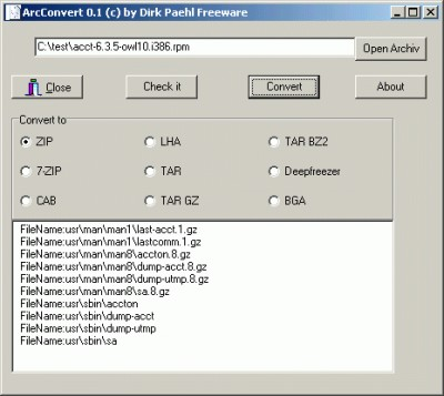 ArcConvert 0.65a screenshot