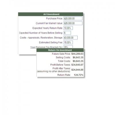 Art Investment Calculator 2.2 screenshot