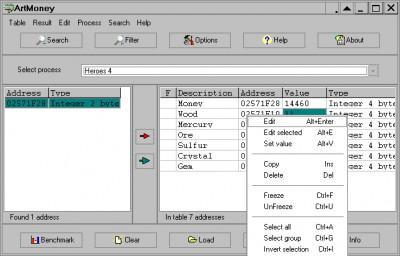 ArtMoney 8.06 screenshot
