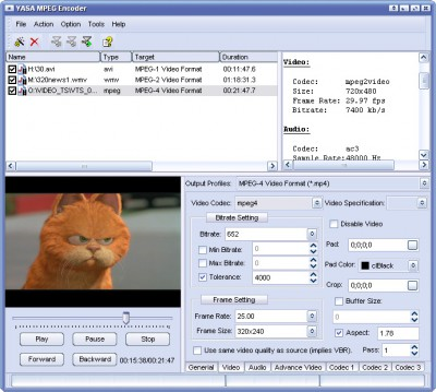 Asaya MPEG Encoder 2011.1105 screenshot