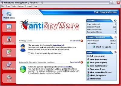Ashampoo AntiSpyWare v2.01 screenshot