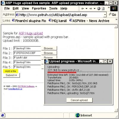 ASP pure file upload with progress 2.0 screenshot