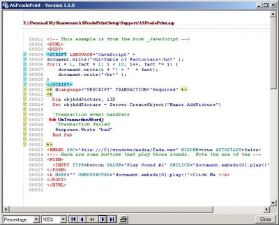 ASPcodePrint 1.5.20 screenshot