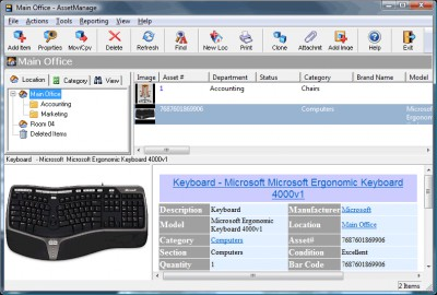 AssetManage Asset Tracking Software 2010 screenshot