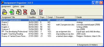 Assignment Organizer 3.0.6 screenshot