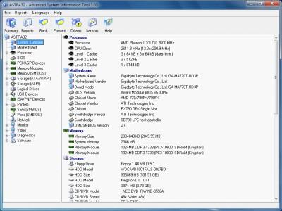 ASTRA32 - Advanced System Information Tool 3.23 screenshot