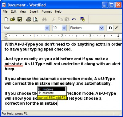 Asutype Speller 3.1 screenshot
