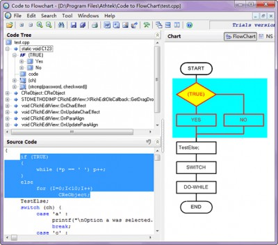 AthTek Code to FlowChart 2.0 screenshot